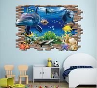 Wholesale Nemo Stickers Decals - 2015 Finding Nemo 3D wall stickers ocean shark Cartoon PVC underwater world wall stickers wholesale fashion creative personality wall decals