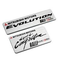 mitsubishi amblemleri amblemleri toptan satış-En Kaliteli Alüminyum Çıkartmalar Araba Logosu Oto Amblem Rozet Mitsubishi Motors Ralliart RALLI-ART Çıkartması Ücretsiz Nakliye Için