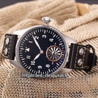 Wholesale Cheap Big Dial Watches - Cheap New Brand Big Montre d' Aviateur High Quality Turbine IW500301 Black Dial Automatic Mens Watch Leather Strap Original Buckle Watches