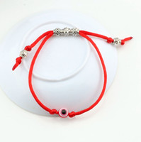 Wholesale Eye Protection Bracelets - Hot ! 30pcs Adjustable kabbalah Red String Bracelet EVIL EYE Bead RED Protection Health Luck Happiness