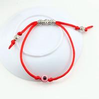pulseira de couro para homens venda por atacado-Quente! 30 pcs Ajustável kabbalah Pulseira Corda Vermelha EVIL EYE Bead RED Proteção Saúde Sorte Felicidade Homens e mulheres pulseira de couro sorte