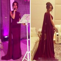 Wholesale One Piece Cape - Modest 2016 Mermaid Prom Dresses Cap Sleeves Chiffon Grape Burgundy Evening Party Dresses With Cape Dubai Abaya Arabic Cheap Prom Gowns Long