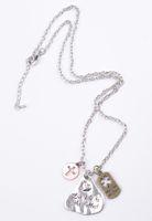 "Wholesale Wholesale Bronze 18 Necklaces - 6PCS Tri Colored Antiqued Silver With Bronze Rose Gold Plate Pendant Necklaces 18"""