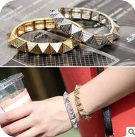 Wholesale Triangle Pyramid Rivets - Wholesale-C38 accessories fashion vintage little pyramid rivet triangle cone warfarins rivet elastic bracelet