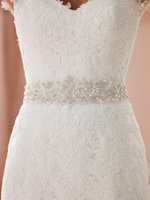 Wholesale Sequin Wedding Sashes - 2017 Custom Made Bridal Sashes Wedding Belts White Ivory Accessories Long Pearls Rhinestone Crystal Beaded For Party Evening Sash Cheap Sexy