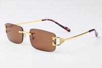 ingrosso occhiali da sole blu rettangolo-occhiali da sole senza montatura corno di bufalo donne progettista di marca rettangolo di lusso oro argento montatura rosa rosso marrone grigio nero blu lenti occhiali