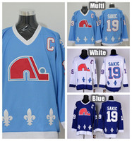 Wholesale Baby Blue Spandex - Quebec Nordiques Throwback Joe Sakic Hockey Jerseys Home Navy White Baby Blue Vintage CCM #19 Joe Sakic Jersey Stitched C Patch