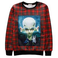 Wholesale Rose Swags - w1208 Alisister funny monsters hoodies men woman aliens print 3d sweatshirt moleton masculino fukk rose flowers hoodie swag clothes