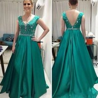 Wholesale Teal Evening Gown Dresses - Latest Teal Green Long Mother Of The Bride Dresses Fashion V Neck Wedding Guest Dresses Beaded Satin A Line Formal Evening Dresses Gowns
