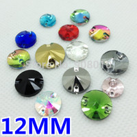 Wholesale 12mm Rivoli Crystal Wholesale - Wholesale-More Colors 240pcs box 12mm Round Rivoli Glass Crystal Sew-on Stone Flatback 2Holes Sewing Crystal Beads