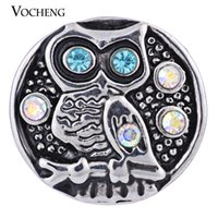 Wholesale Owl Metals - VOCHENG Noosa Owl Ginger Snap Jewelry 18mm Snap Button 2 Colors Vintage Metal Snap Button (Vn-578)