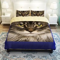 Wholesale Cat Comforter Sets - CAH031- Multi-Choice Christmas Cartoon Cat Comforter Set 3D Print Duvet Bedding Cover Pillow Cases Quilt Cover Bed Bedding Set