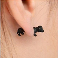 Wholesale Cool Earrings Women - 1piece Punk Rock Trendy Cool 3D Stereoscopic Dachshund Dog Impalement Lady Men Women Unisex Ear Stud Party Earrings XY-E975