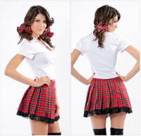 Rendimiento Japan Baratos-Red Grid Sexy Halloween Split Plaid Japón School Uniform Cosplay Chica traje Stage Performance Adulto Dancewear Scotticize de alta calidad