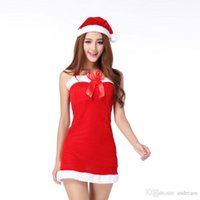 Wholesale Miniskirt One Piece - 2015 Christmas party cosplay cos sexy Santa Claus costume women one piece teddies bodysuits backless braces miniskirt dress clothing 190218