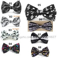 Wholesale Piano Tie - New hot sell music note piano keys guitar bow tie men and women party and concert bow tie cosplay accessories wholesale