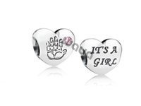 Wholesale European Boy Charms - 925 sterling Silver charms Baby Boy Girl With Pink Cubic Zirconia beads for women Bracelets necklaces jewelry Making