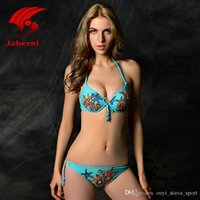 Wholesale Cute Hot Pink Bikinis - 2016 Hot Sale Sexy Triangle Bikini Push Up Swimwear Women Elegant Brazilian Biquini Cute Swimsuit For Lady Print Starfish Bowknot Beachwear
