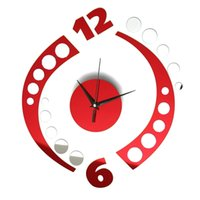 Wholesale Black Red Wall Clocks - Lowest Price Red & Black 3D DIY Modern Rotation Clock Wall Sticker Livingroom Office Decal Decoration New