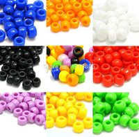 Wholesale Fashion Jewelry Multicolor Round Plastic Smooth Barrel Acrylic beads Big Hole Charm Beads DIY Jewelry Findings Free B171