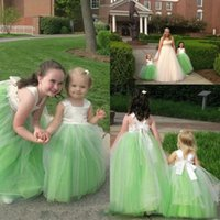 Wholesale Cheap China Girls Dresses - Lovely 2017 Ball Gown Flower Girl Dresses For Weddings Cheap Ivory Satin Top Green Tulle Girls Pageant Gowns Custom Made China EN10308