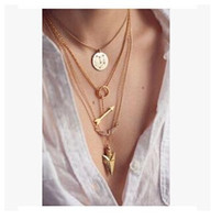 Wholesale Wholesale Horn Jewelry - 2pcs lot Summer Hot Fashion Pendant Necklaces Jewelry Gold Plated 3 Layer Chain Bar Necklace Beads and Long Strip Pendant Necklaces Jewelry