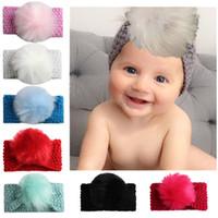 Wholesale Knit Ball Headband - Baby Crochet Headbands Ball Hairband for Girl Pretty Princess Party Decor Infants Hair Accessories Boutique Wool Knitting Headress