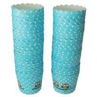 sobremesas de papel venda por atacado-2500X Coruja Azul impressão cupcake paper Bolo De Papel Caso Copos De Cozimento Forro Muffin Sobremesa Baking Cup