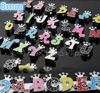 Wholesale 8mm Crystal Letter Charms - 8mm A-Z Crystal Letter Heart Floating Charm for Glass Living Memory Locket Hot New Korea Style Fashion wedding earrings H0560