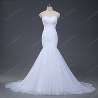 Wholesale Sweetheart Strapless Mermaid Wedding Dresses - Stock Sexy Mermaid Wedding Dresses 2017 Strapless Wedding Gowns Trumpet New Design White Ivory Tulle Bridal Gowns Hot Bride Dress