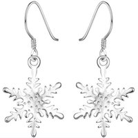 Wholesale Ear Ring Hooks - Fashion Lady Girl 925 Sterling Silver Snowflake Crystallize Hook Earrings Dangle Ear Rings Pendant Jewelry Christmas Gives The Gift Of Women