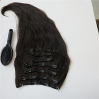 Wholesale 17 Extensions - Smooth Human Hair Clip in Hair Extensions Brazilian Hair Dyeable Off Black Remy Hair 160g pcs Customize Length Color 17