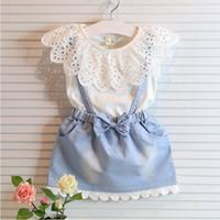 Wholesale Kids Denim Cowboy Vest Wholesale - Few Stock Children's Girls Dresses Lace Tee Shirt Denim Vest Skirt Korean Kids Clothing Cowboy Dresses A0204