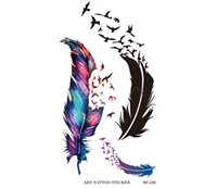 Wholesale Wings Tattoo Hand - QUALITY MIXED Tatoo Golden Temporary Tatto Decal Women Men Body Art Wings Bird Feather Temp Metallic Tattoo Stickers feather style