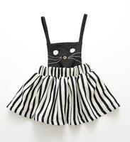 Wholesale Winter Stripe Skirt - 2016 girls black white stripes short dress lolita cat dress suspender skirt baby girl girls slip dress kids cat striped dress