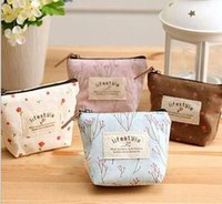 Wholesale Order Lady Purse - Fashion Floral Canvas Bag Cute Coin Purse Small Square Headset Bags Support Mix Order Free Shipping