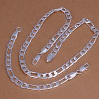 erkekler 925 gümüş kolyeler bilezikler toptan satış-Yüksek dereceli 925 ayar gümüş '8 M düz üç bir bilezik Kolye Seti-Erkekler takı seti DFMSS169 marka yeni Fabrika doğrudan 925 gümüş
