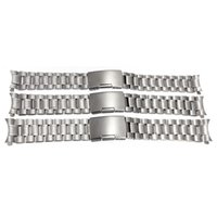 Wholesale 16mm Watch Strap - Wholesale-New Fashion Silver Stainless Steel Solid Link Watch Strap Bracelet Curved End 16mm 18mm 20mm