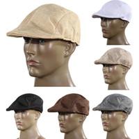 chapeaux de journaux d'hiver achat en gros de-Vente en gros-Automne et hiver Mode Hommes Vintage Flat Cap a atteint un sommet Racing Hat Beret Country Golf Newsboy H1E1
