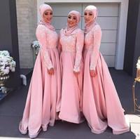 vestidos de dama de honor blancos musulmanes al por mayor-Islam Muslim 2017 Vestidos largos de dama de honor con apliques blancos Joya rosada Vestido de fiesta de boda de manga larga Vestido de fiesta por encargo