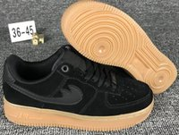 Wholesale Air F - Classic Air 1 Low 1'07 SE F Noir Marron Men's Shoes High Quality Women's Sneakers Suede Black Size 36-45 Fast Shipping
