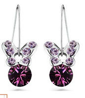Wholesale Diamond Butterfly Earings - more color crystal butterfly lady's earings (2.6*1.2cm) (xgspc)