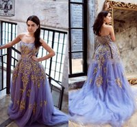 Wholesale Sweetheart Appliques Beaded Ruched - Lavender Tulle Sweetheart Prom Dresses Gold Beaded Lace Appliques A-Line Fairy Formal Dresses Evening Wear Ruched Puffy Skirt Train Vestidos