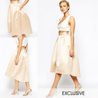 Mode Champagner Röcke Satin Puffy eine Linie Party Kleider High LOW Knielänge Frauen Formal Röcke 2016 Custom Made Prom Kleider