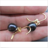 Wholesale Pearl Earring 12 Mm Stud - NEW 10-12 MM MARKED AAA BLACK TAHITIAN PEARL DANGLE EARRING 14K YELLOW GOLD