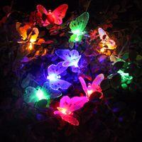 Wholesale fiber optic christmas string lights - Wholesale- Christmas Led Outdoor Solar String Lights 12 LEDs Multi Color Fiber Optic Butterfly Light Decorative Lighting for Home Garden