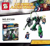 Wholesale Lex Wholesale - 2016 SY330 Super Heroes 207pcs bricks set woman superman vs power armor lex luther dc universe Assemble building block Children Kid Toy Gift