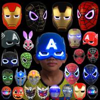 pvc karikaturmaske großhandel-LED Leuchtende Superheld Kinder Maske Spiderman Iron Man Hulk Batman Party Cartoon Film Maske Für Kindertag Cosplay