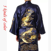 Wholesale Men Silk Robe - Wholesale-2015 Silk Dragon Robes Chinese Men's Silk Satin Robe Embroider Kimono Bath bathrobe Men Dressing Gown For Men Summer Sleepwear