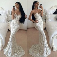 Wholesale Cowl Neck Prom Dress - 2015 White Lace Mermaid Prom Dresses Sweetheart Sleeveless Sweep Train Vestidos De Festa Sexy Backless Evening Party Gowns Free Shipping new